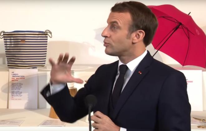 Le chef de l'État, le 18 janvier, lors de l'exposition « Fabriqué en France » à l'Élysée. © (capture d'écran)
