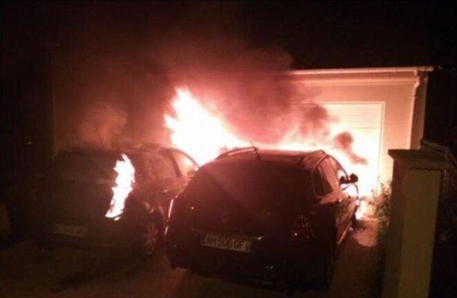 Les voitures de Mathieu Hillaire ont été incendiées dans la nuit du 28 au 29 mars 2019, à son domicile. © DR