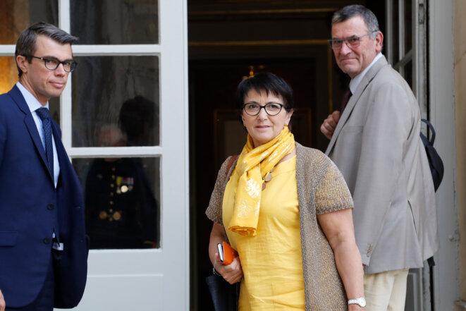 Le directeur général de la FNSEA, Clément Faurax (à gauche), avec la présidente de la FNSEA, Christiane Lambert, lors d'une réunion à Matignon le 5 décembre 2019 © AFP