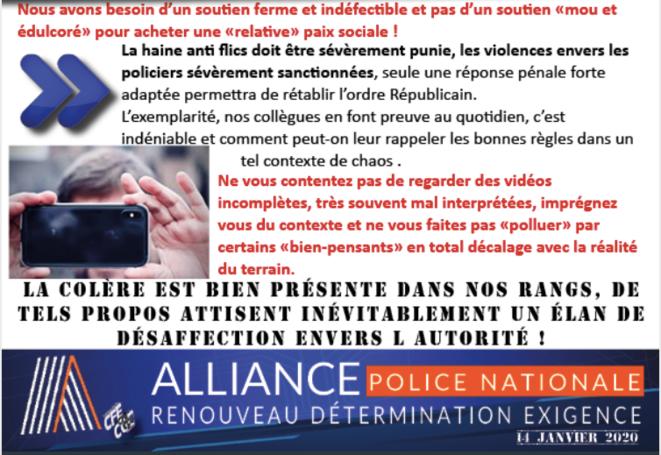 Tract du syndicat de police Alliance, 14 janvier 2020. © DR