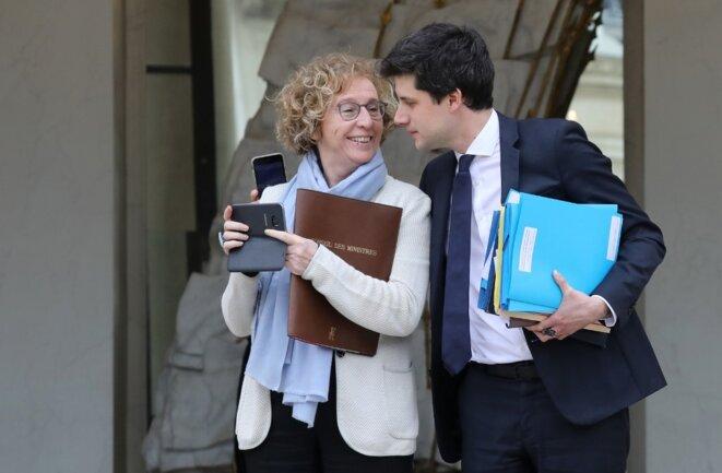 Muriel Pénicaud et Julien Denormandie le 6 février à l'Élysée. © Ludovic Marin / AFP