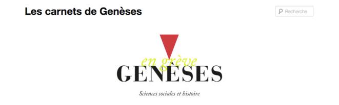 Le site de la revue Genèses, en grève © capture d'écran du 8 février