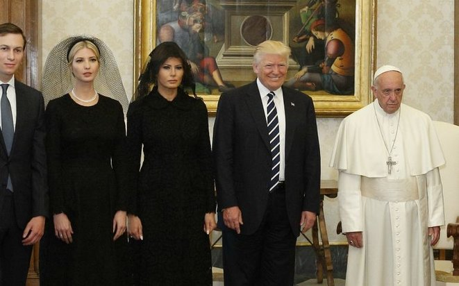 Pope Francis poses for a photo with President Donald Trump, his wife Melania and daughter Ivanka Trump, accompanied by her husband, Jared Kushner, during a private audience at the Vatican May 24, 2019. © CNS/Paul Haring
