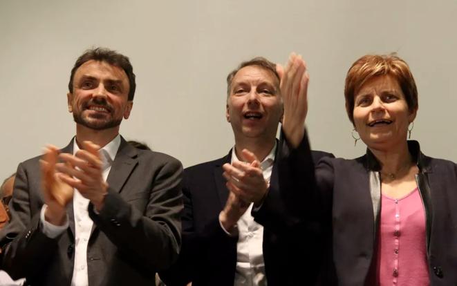 De gauche à droite : Grégory Doucet, candidat EELV à Lyon, Bruno Bernard, tête de liste pour les métropolitaines, et Béatrice Vessiller, cheffe de file des écologistes à Villeurbanne. © Mathieu Périsse