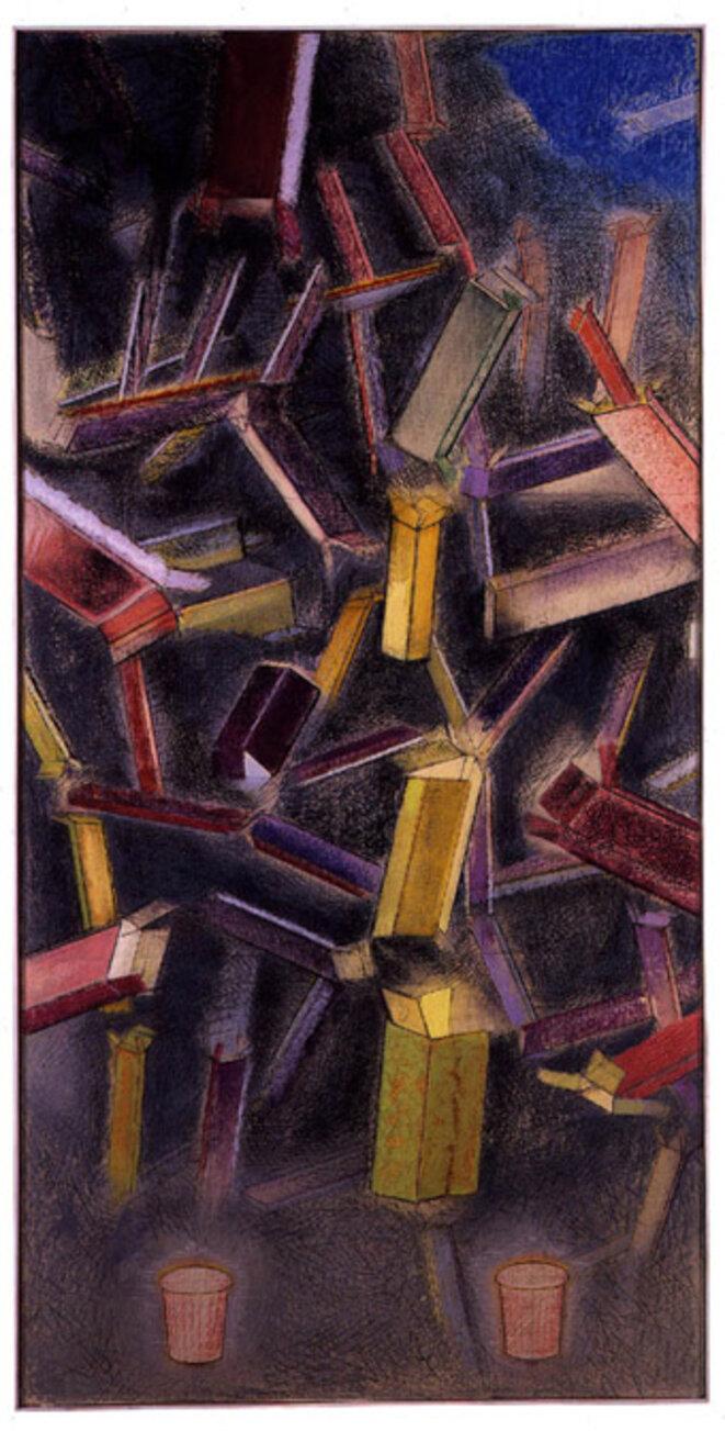 """François Barbâtre, """"11 septembre 2001"""", pastel sur papier..."""