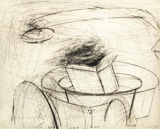 """François Barbâtre, """"La Centrale"""", fusain, 40 x 50 cm, 2019. © Jean-Louis Rossi"""