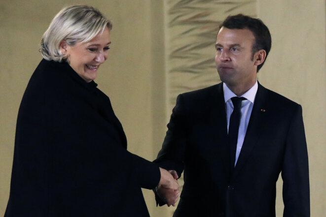 Marine Le Pen et Emmanuel Macron, en novembre 2017. © AFP