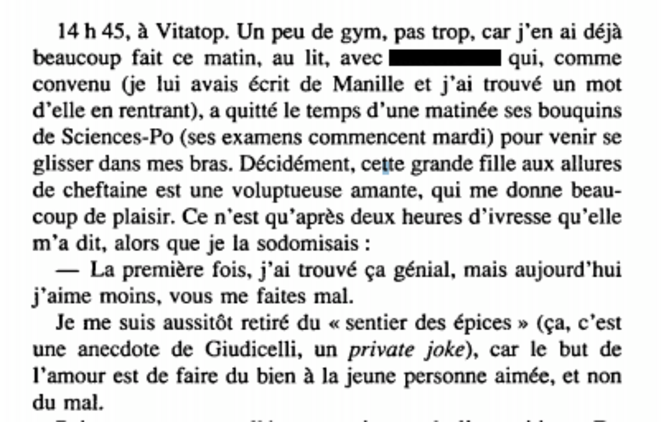 """Extrait du livre """"La prunelle de mes yeux"""" (1993). Nous avons masqué le nom de la jeune femme."""