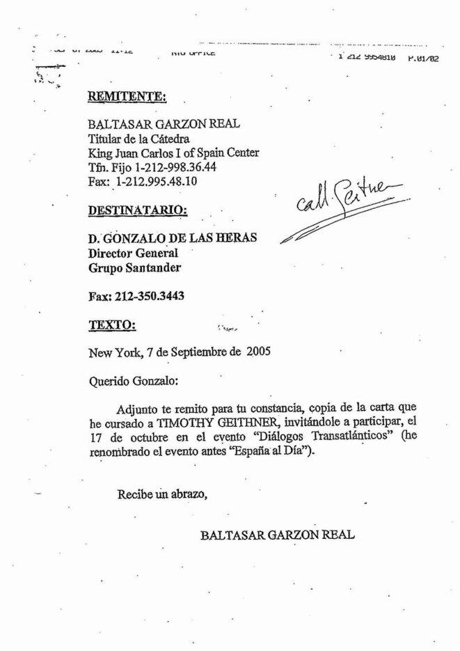 Garzon letter to Santander director