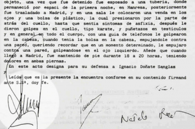 Torture testimony signed by judge Baltasar Garzon