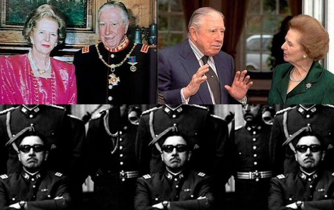 Le réactionnaire chilien Pinochet au côté du Premier Ministre britannique Margareth Thatcher (en haut) et de ses officiers (en bas).