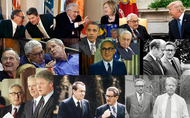 Henry Kissinger en compagnie de chacun des présidents américains depuis Richard Nixon.