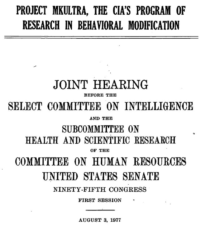 1977 US Senate report on CIA MKULTRA issue