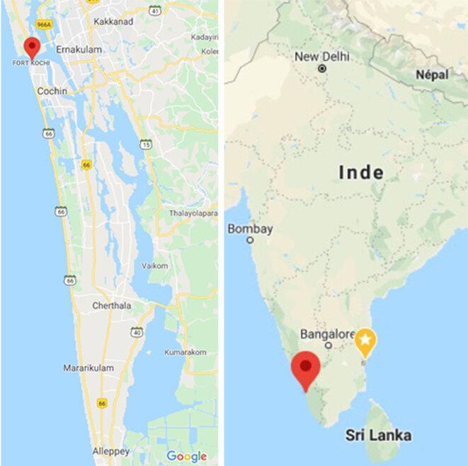 La presqu'île et sa situation, tout au sud de l'Inde