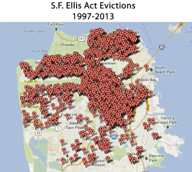 google maps des expulsions à SF