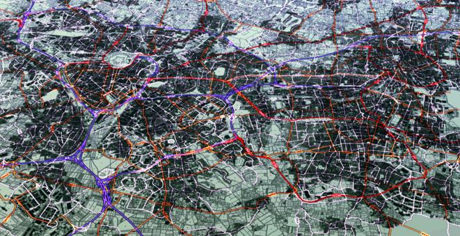 Agglomération lilloise, tourné de 60° vers l'est, vue satellite avec surlignage de la densité urbaine et du réseau routier