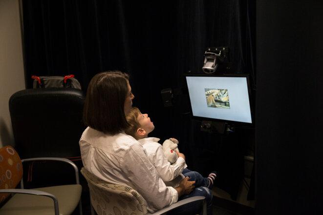Œil de chat  Tandis qu'Owen regarde une vidéo avec un bébé tigre, ses mouvements oculaires sont enregistrés par un oculomètre (technique de l' « eye-tracking »). © Cristina Pye