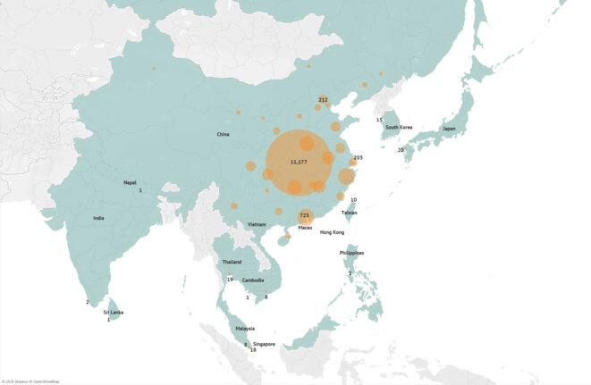 Carte montrant les derniers cas confirmés du nouveau coronavirus (nCoV) en Asie. RFA