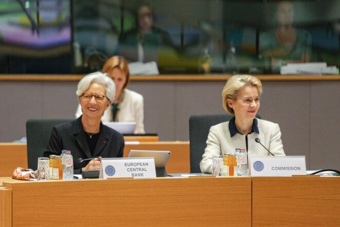 Christine Lagarde (BCE) et Ursula Von der Leyen (Commission européenne) le 13 février. © Nicolas Economou/ AFP