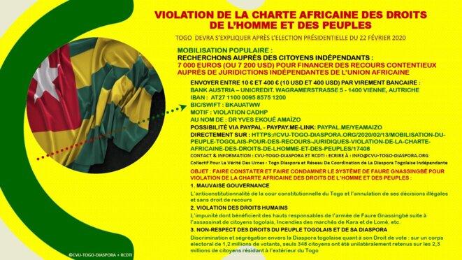 Togo : mobilisation du peuple togolais contre la Violation de la Charte Africaine des droits de l'homme et des peuples,14 février 2020