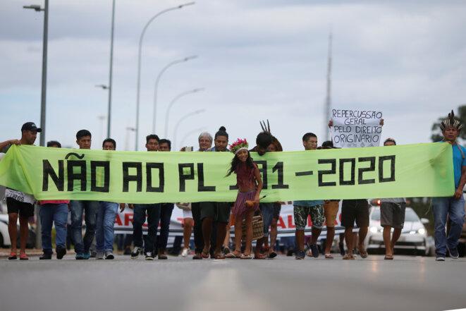 Une manifestation d'autochtones contre Bolsonaro à Brasilia, le 12 février 2020. © REUTERS