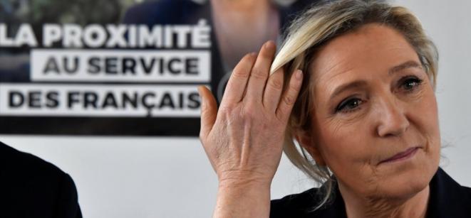 Marine Le Pen à Gavignac, le 8 février © Georges Gobet/AFP