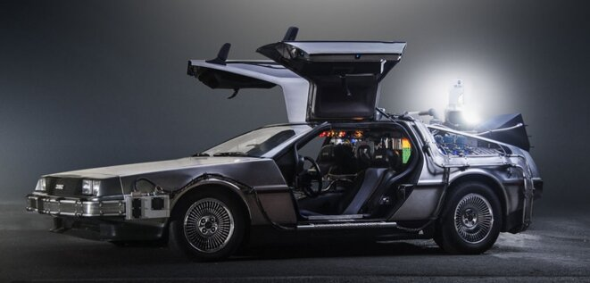 The author travelled in an updated version of a DeLorean Time Machine (pictured).