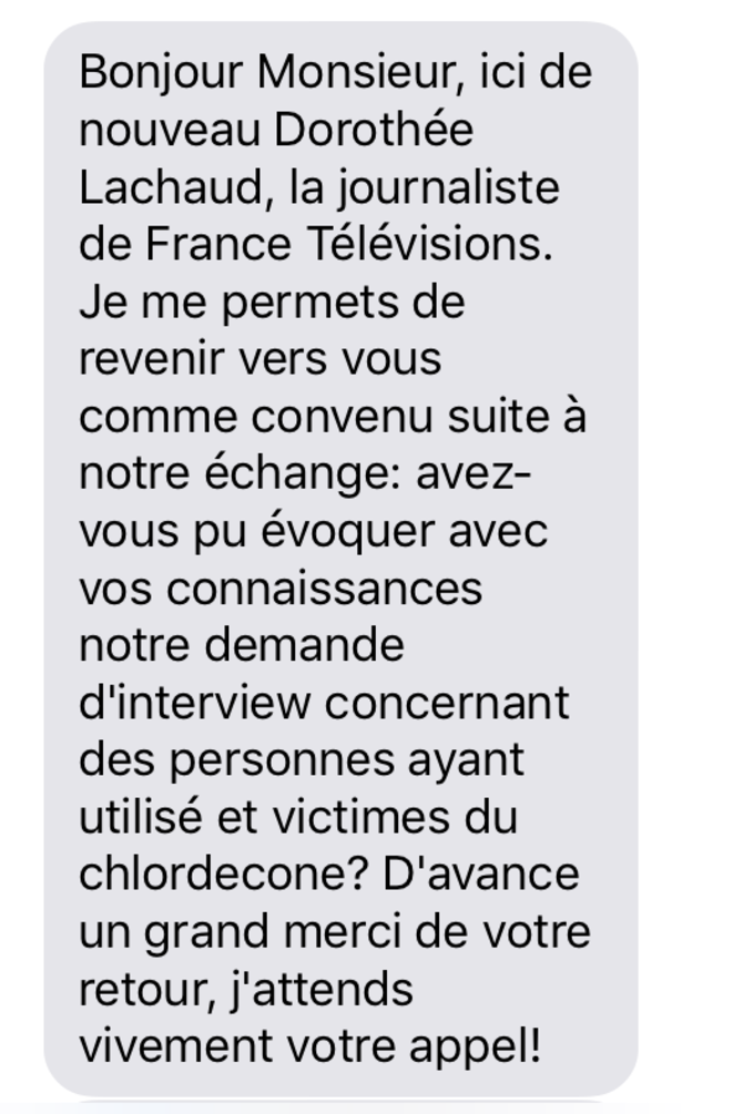 Message adressé par Dorothée Lachaud à Yvon Serenus le 12 février 2020