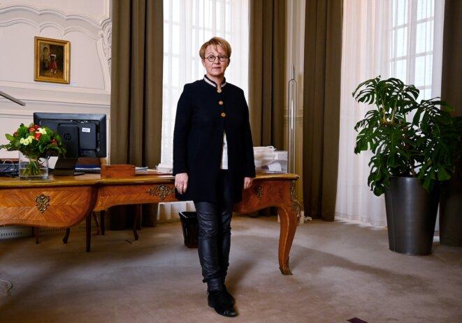 La maire de Rennes Nathalie Appéré dans son bureau, en novembre dernier. © Damien Mayer / AFP