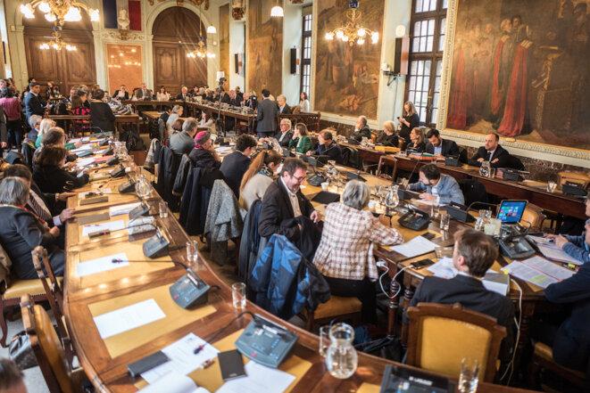 La salle du conseil municipal de Toulouse, le 31 janvier. © Frédéric Scheiber / Hans Lucas