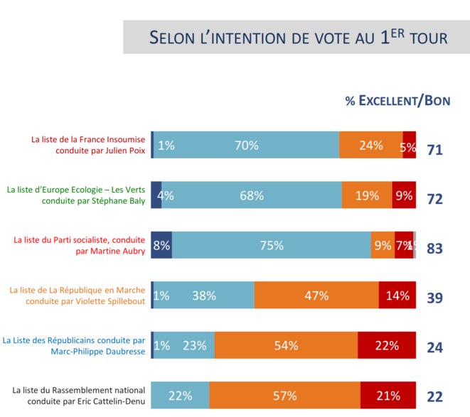 Lillois, opinions sur le bilan de Martine Aubry, excellent–bon–médiocre–mauvais, selon intention de vote au premier tour (Ifop, 2019-12)
