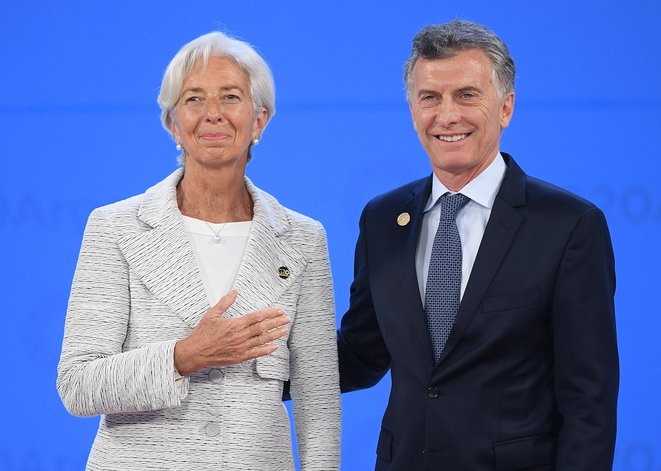 Christine Lagarde, then managing direrctor of the IMF, and Mauricio Macri, then president of Argentina, at the G20 Summit in Buenos Aires in November 2018. © AFP