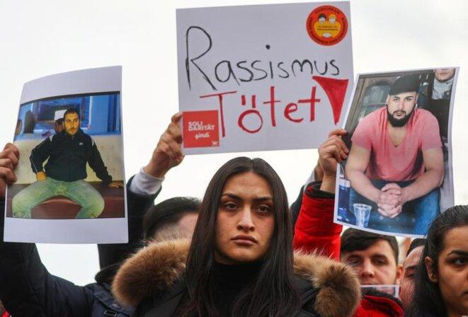 Rassemblement en mémoire des victimes de l'attentat de Hanau, le 21 février. © Reuters