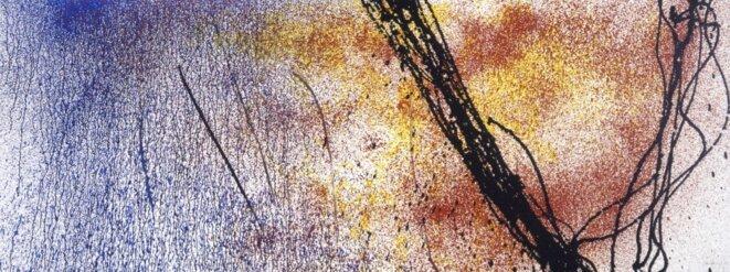 Hans Hartung, « T1987-H24 », acrylique sur toile, 95 x 250 cm, 1987 (© Fondation Hartung-Bergman)