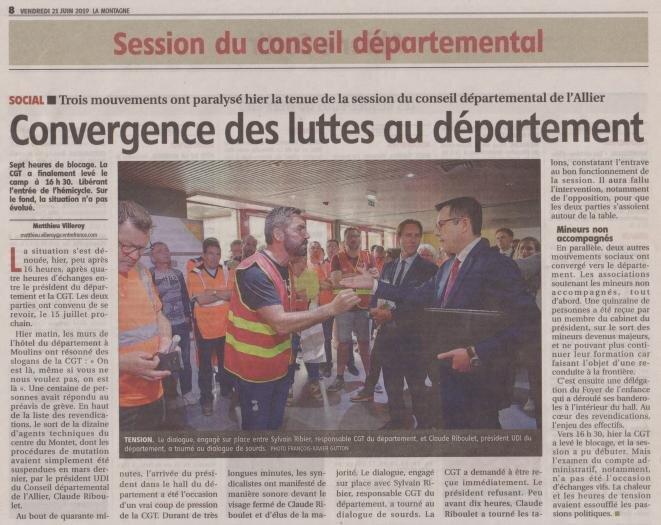 Le 20 juin 2019 déjà, le président Riboulet et son cabinet s'étaient montrés dépassés face à la mobilisation des agents techniques du département, du Foyer de l'enfance de Moulins et des mineurs isolés étrangers.