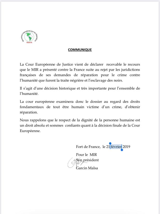 La Lettre du Mouvement International pour les Réparations (MIR)