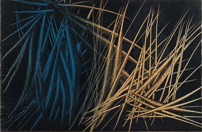 Hans Hartung, « T1963-R50 », vinylique sur toile, 60 x 92 cm, 1963 (© Fondation Hartung-Bergman)