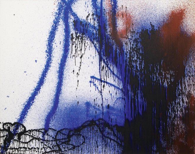 Hans Hartung, « T1988-R29 », acrylique sur toile, 142 x 180 cm, 1988 (© Fondation Hartung-Bergman/courtesy De Sarthe Gallery)