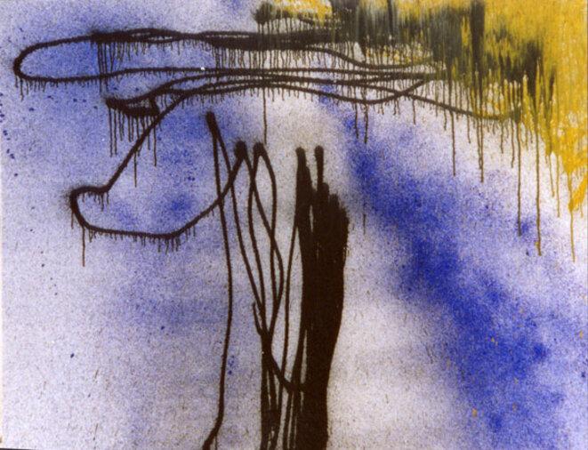 Hans Hartung, « T1989-R10 », acrylique sur toile, 142 x 180 cm, 1989 (© Fondation Hartung-Bergman)