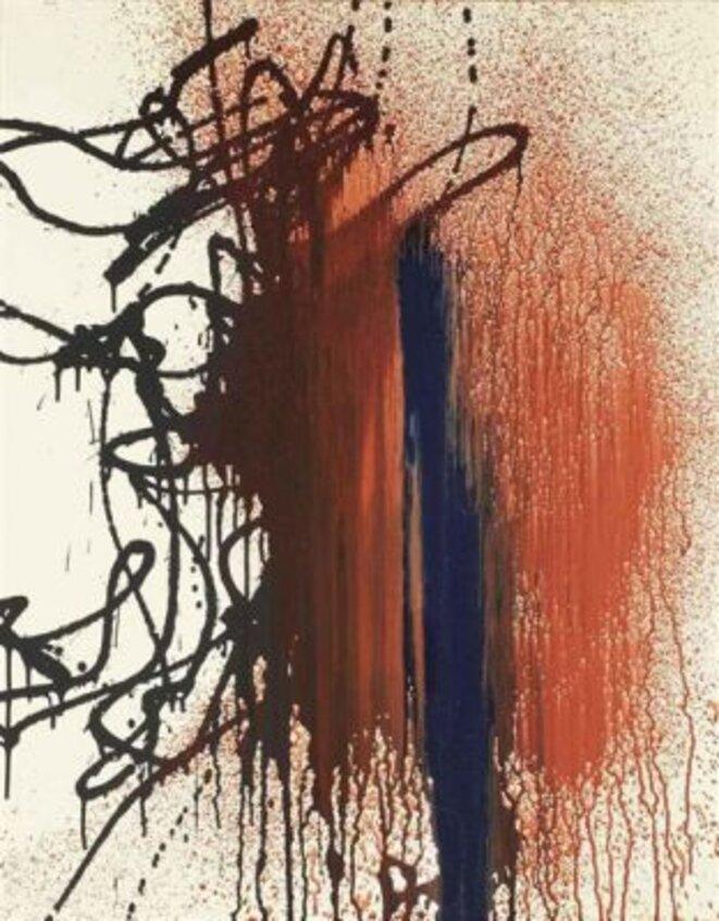 Hans Hartung, « T1987-H40 », acrylique sur toile, 92 x 73 cm, 1987 (© Fondation Hartung-Bergman)