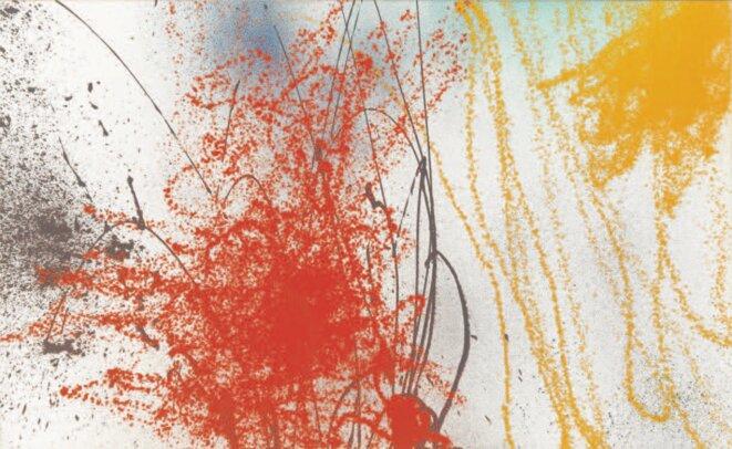 Hans Hartung, « T1989-A7 », acrylique sur toile, 185 x 300 cm, 1989 (© Fondation Hartung-Bergman)