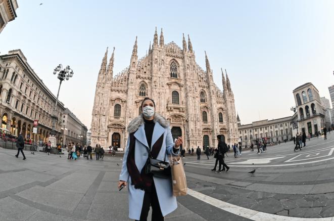 Piazza del Duomo, à Milan, le 24 février 2020. © Andreas SOLARO/AFP