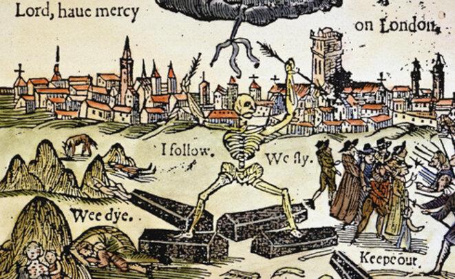 Gravure coloriée commémorant une des pestes de Londres, 1625.