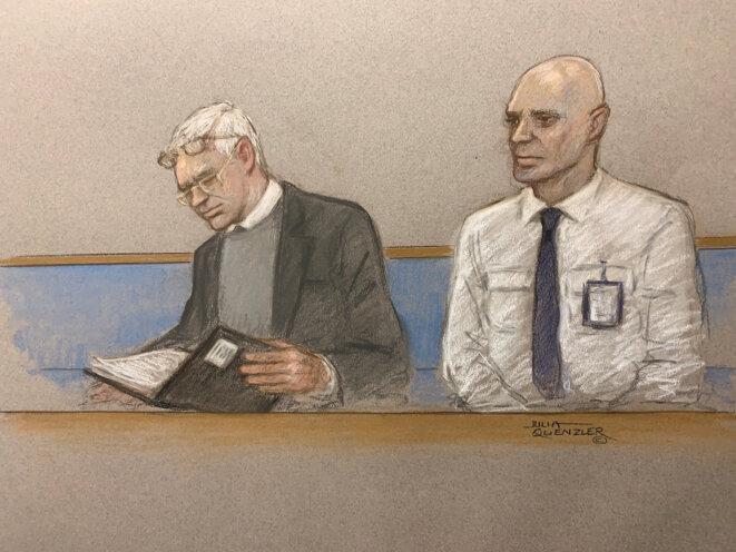 Un croquis représentant Julian Assange lors de l'ouverture du procès à Londres, lundi 24 février. © Julia Quenzler / Reuters