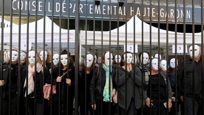 Manifestation des agents des MDS de Haute-Garonne en octobre 2019 [Photo Valentine Chapuis, La Dépêche]