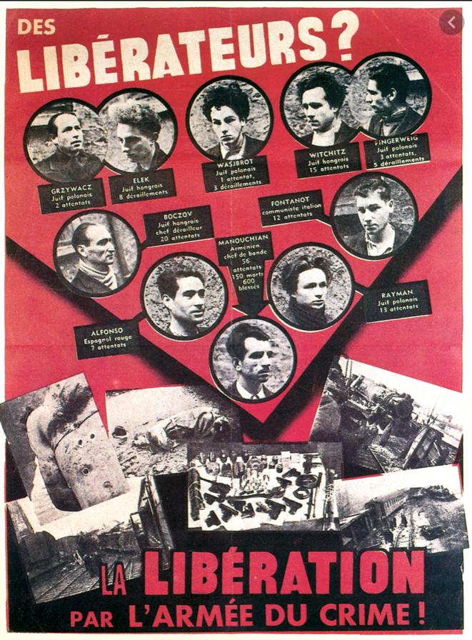 L'Affiche rouge - Résistants étrangers du groupe Manouchian, fusillés au Mont Valérien le 21 février 1944 au matin