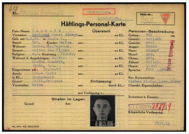Archive du fonds Arolsen - Carte de détenu de Bertrand Mauduit
