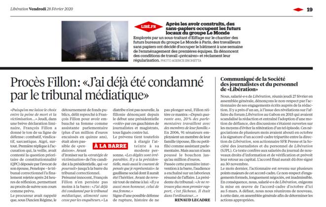Le communiqué de la Société des journalistes et du personnel de Libération dans le journal de vendredi. © DR