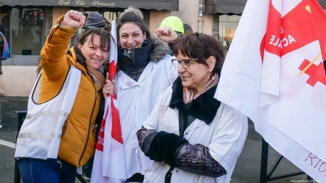 Trois soignantes de l'hôpital de RIOM en grève tournante depuis fin novembre ! © GeorgesAndréPhotos