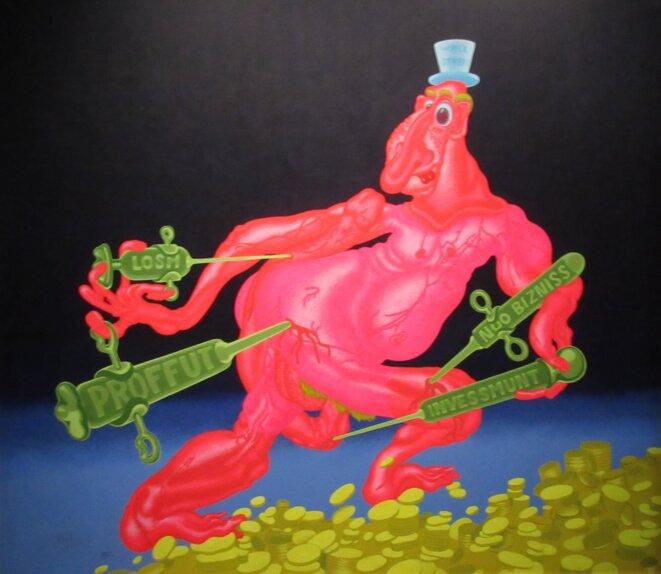 """Peter Saul, """"Mr. Wall Street"""", 1971, acrylique sur toile, 173 x 198 cm, Collection Frac Auvergne, Clermont-Ferrand © Frac Auvergne"""